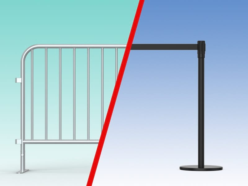 barricades or stanchions for school crowd control